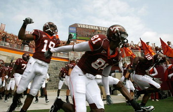 BLACKSBURG, VA - SEPTEMBER 01:  The Virginia Tech football team takes the field after a ceremony honoring the 32 victims of the shooting at the school, before the start of the season opener September 1, 2007 at Lane Stadium in Blacksburg, Virginia. In add
