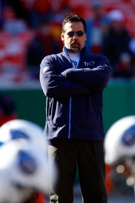KANSAS CITY, MO - DECEMBER 16:  Head coach Jeff Fisher of the Tennessee Titans looks on during the game against the Kansas City Chiefs on December 16, 2007 at Arrowhead Stadium in Kansas City, Missouri.  (Photo by Jamie Squire/Getty Images)