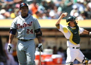 OAKLAND, CA - JULY 01:  Miguel Cabrera #24 of the Detroit Tigers reacts after striking out against the Oakland Athletics in the eighth inning during a Major League Baseball game on July 1, 2009 at the Oakland Coliseum in Oakland, California.  (Photo by Je