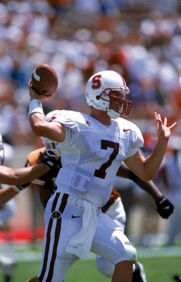 4 Sep 1999:  Todd Husak #7 of the Stanford Cardinals passes the ball during the game against the Texas Longhorns at the Texas Memorial Stadium in Austin, Texas. The Longhorns defeated the Cardinals 69-17. Mandatory Credit: Paul Buck  /Allsport