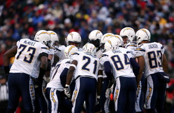 FOXBORO, MA - JANUARY 20:  (L-R) Marcus McNeill #73, Philip Rivers #17, LaDainian Tomlinson #21, Craig Davis #84 and Vincent Jackson #83 of the San Diego Chargers huddle up against the New England Patriots during the AFC Championship Game on January 20, 2