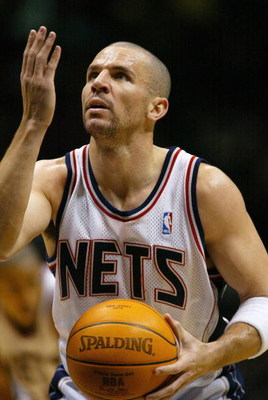 EAST RUTHERFORD, NJ - JANUARY 25:  Jason Kidd of the New Jersey Nets prepares to shoot a free throw against the Boston Celtics on January 25, 2004 at the Continental Airlines Arena in East Rutherford, New Jersey.  NOTE TO USER:  User expressly acknowledge