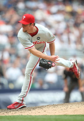 NEW YORK - MAY 24:  Brad Lidge #54 of the Philadelphia Phillies pitches  against the New York Yankees on May 24, 2009 at Yankee Stadium in the Bronx borough of New York City.  (Photo by Nick Laham/Getty Images)