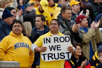 ANN ARBOR, MI - OCTOBER 25:  Fans of the Michigan Wolverines watch from the stands during the game against the Michigan State Spartans on October 25, 2008 at Michigan Stadium in Ann Arbor, Michigan. Michigan State won the game 35-21. (Photo by Gregory Sha