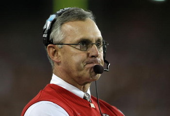 GLENDALE, AZ - JANUARY 05:  Head coach Jim Tressel of the Ohio State Buckeyes reacts during the Tostitos Fiesta Bowl Game against the Texas Longhorns on January 5, 2009 at University of Phoenix Stadium in Glendale, Arizona.   The Longhorns defeated the Bu