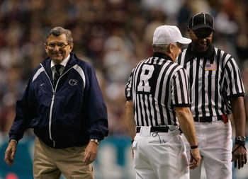 SAN ANTONIO - DECEMBER 29:  Head Coach Joe Paterno of the Penn State Nittany Lions smiles after speaking with the officials during the Valero Alamo Bowl against the Texas A&M Aggies on December 29, 2007 at the Alamodome in San Antonio, Texas.  Penn State