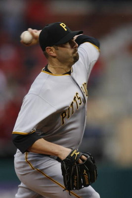 ST. LOUIS, MISSOURI - APRIL 6: Relief pitcher John Grabow #34 of the Pittsburgh Pirates throws against the St. Louis Cardinals during Opening Day on April 6, 2009 at Busch Stadium in St. Louis, Missouri.  The Pirates beat the Cardinals 6-4.  (Dilip Vishwa