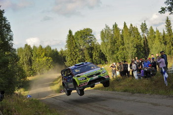 JYVASKYLA, FINLAND - AUGUST 02:  Mikko Hirvonen of Finland and Jarmo Lehtinen of Finland compete in their BP Abu Dhabi Ford Focus during Leg 3 of the WRC Neste Oil Rally of Finland on August 02 , 2009 in Jyvaskyla, Finland  (Photo by Massimo Bettiol/Getty