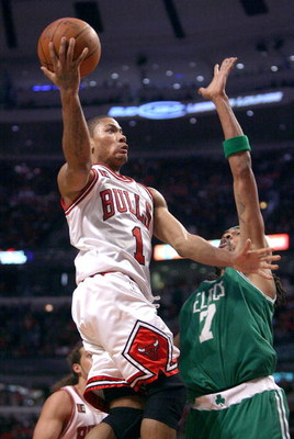 CHICAGO - APRIL 23: Derrick Rose #1 of the Chicago Bulls drives to the basket past Mikki Moore #7 of the Boston Celtics in Game Three of the Eastern Conference Quarterfinals during the 2009 NBA Playoffs at the United Center on April 23, 2009 in Chicago, I