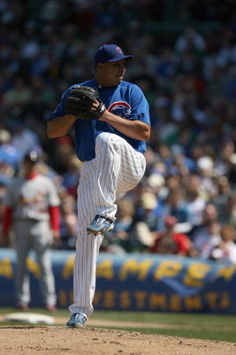 CHICAGO - APRIL 17:  Carlos Zambrano #38 of the Chicago Cubs pitches against the St. Louis Cardinals on April 17, 2009 at Wrigley Field in Chicago, Illinois. (Photo by Jonathan Daniel/Getty Images)