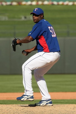 SURPRISE, AZ - MARCH 5:  Frank Francisco #50 of the Texas Rangers pitches against the Milwaukee Brewers on March 5, 2008 at Surprise Stadium in Surprise, Arizona. The Brewers won 12-6. (Photo by Stephen Dunn/Getty Images)