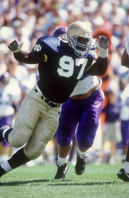 11 SEP 1993:  NOTRE DAME DEFENSIVE TACKLE BRYANT YOUNG LOOKS FOR A SACK AGAINST NORTHWESTERN. Mandatory Credit: Jonathan Daniel/ALLSPORT