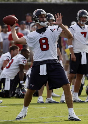 HOUSTON - JULY 31: Quarterback Matt Schaub #8 throws a pass during the first practice of training camp on July 31, 2009 in Houston, Texas.  (Photo by Bob Levey/Getty Images)