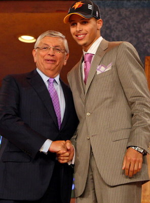 NEW YORK - JUNE 25:  NBA Commissioner David Stern poses for a photograph with the seventh overall draft pick by the Golden State Warriors,  Stephen Curry during the 2009 NBA Draft at the Wamu Theatre at Madison Square Garden June 25, 2009 in New York City