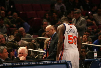 NEW YORK - JANUARY 02: Zach Randolph #50 of the New York Knicks leaves the court after being ejected after throwing his headband at referee Tony Brothers against the Sacramento Kings on January 2, 2008 at Madison Square Garden in New York City. NOTE TO US