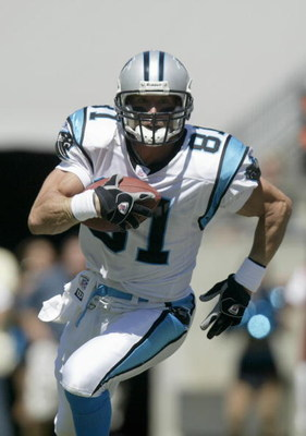 CHARLOTTE, NC - SEPTEMBER 11:  Ricky Proehl #81 of the Carolina Panthers carries the ball during the game against the New Orleans Saints at Bank of America Stadium on September 11, 2005 in Charlotte, North Carolina. The Saints won 23-20. (Photo by Craig J