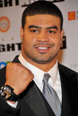 SCOTTSDALE, AZ - APRIL 05:  NFL PLayer Shawne Merriman arrives to Muhammad Ali's Celebrity Fight Night XIV at the JW Marriott Desert Ridge Resort & Spa on April 5, 2008 in Scottsdale, Arizona.  (Photo by Charley Gallay/Getty Images for Celebrity Fight Nig