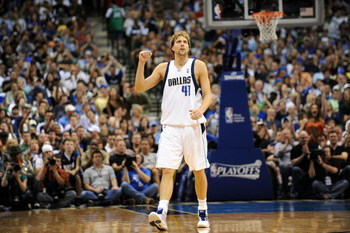 DALLAS - MAY 09:  Forward Dirk Nowitzki #41 of the Dallas Mavericks reacts during play with the Denver Nuggets in Game Three of the Western Conference Semifinals during the 2009 NBA Playoffs at AT&T Center on May 9, 2009 in Dallas, Texas. NOTE TO USER: Us