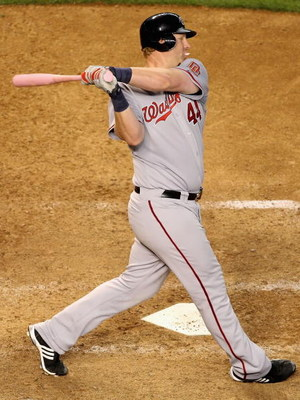 PHOENIX - MAY 10:  Adam Dunn #44 of the Washington Nationals bats against the Arizona Diamondbacks during the major league baseball game at Chase Field on May 10, 2009 in Phoenix, Arizona. The Diamondbacks defeated the Nationals 10-8. (Photo by Christian