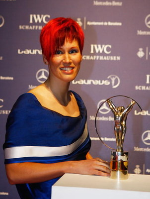 BARCELONA, SPAIN - APRIL 02:  Skier Kati Wilhelm arrives at the awards ceremony during the Laureus Sports Awards at the Palau Sant Jordi on April 2, 2007 in Barcelona, Spain.   (Photo by Ian Walton/Getty Images for Laureus)