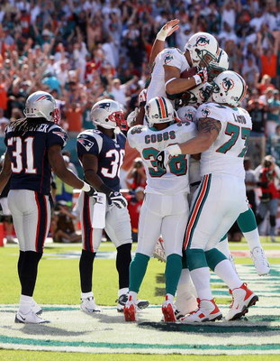 MIAMI - NOVEMBER 23:  Wide receiver Greg Camarillo #83 of the Miami Dolphins celebrates with teammates after his touchdown catch in the first quarter against the New England Patriots at Dolphin Stadium on November 23, 2008 in Miami, Florida. The Patriots