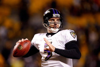 PITTSBURGH - JANUARY 18:  Joe Flacco #5 of the Baltimore Ravens warms up against the Pittsburgh Steelers during the AFC Championship game on January 18, 2009 at Heinz Field in Pittsburgh, Pennsylvania.  (Photo by Streeter Lecka/Getty Images)