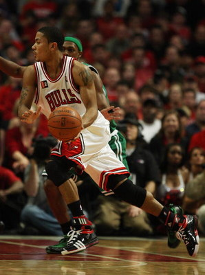 CHICAGO - APRIL 30: Derrick Rose #1 of the Chicago Bulls moves against Rajon Rondo #1 of the Boston Celtics in Game Six of the Eastern Conference Quarterfinals during the 2009 NBA Playoffs at the United Center on April 30, 2009 in Chicago, Illinois. The B