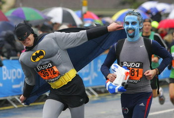 PORTSMOUTH, UNITED KINGDOM - OCTOBER 26:  One of participants dressed as batman takes part in the Bupa Great South Run on October 26, 2008 in Portsmouth, England.  (Photo by Tom Dulat/Getty Images)