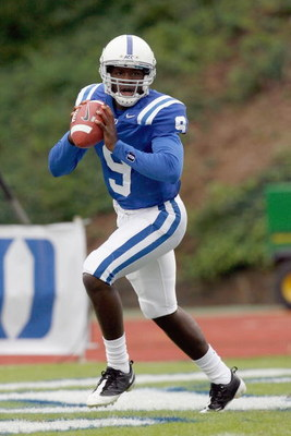 DURHAM, NC - OCTOBER 18:  Quarterback Thaddeus Lewis #9 of the Duke Blue Devils moves to pass the ball during the game against the Miami Hurricanes at Wallace Wade Stadium on October 18, 2008 in Durham, North Carolina.  (Photo by Kevin C. Cox/Getty Images