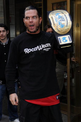 NEW YORK - DECEMBER 18:  Wrestler Jeff Hardy arrives at the WWE and USA Network help U.S Marine Corp Toys for Tots Foundation event at the NBC Experience store on December 18, 2007 in New York City.  (Photo by Bryan Bedder/Getty Images)