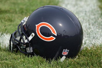 BOURBONNAIS, IL - AUGUST 4: A Chicago Bears helmet rests on the field during a training camp practice at Olivet Nazarene University August 4, 2009 in Bourbonnais, Illinois. (Photo by Jonathan Daniel/Getty Images)