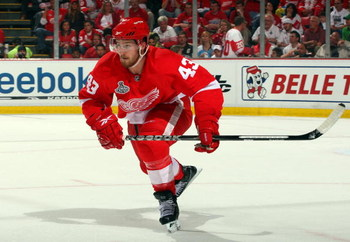 DETROIT - JUNE 12:  Darren Helm #43 of the Detroit Red Wings skates against the Pittsburgh Penguins during Game Seven of the 2009 NHL Stanley Cup Finals at Joe Louis Arena on June 12, 2009 in Detroit, Michigan.  (Photo by Jim McIsaac/Getty Images)