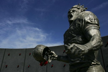 GLENDALE, AZ - NOVEMBER 12:  Pat Tillman, who was killed in Afghanistan in 2004 after quitting the NFL's Arizona Cardinals to join the U.S. Army Rangers,  was honored with a statue outside the University of Phoenix Stadium before the game between the Ariz