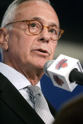 NEW YORK - JULY 28: Newly named New York Knicks coach Larry Brown speaks during a press conference at Madison Square Garden July 28, 2005 in New York City. Brown will be taking over from Herb Williams and is the 22nd head coach in the franchise's history.