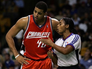 BOSTON - NOVEMBER 08:  Sean May #42 of the Charlotte Bobcats talks with referee Violet Palmer #12 in the second half against the Boston Celtics on November 8, 2006 at the TD Banknorth Garden in Boston, Massachusetts. The Celtics defeated the Bobcats 110-1