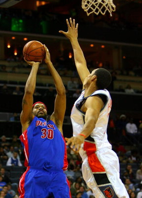 CHARLOTTE, NC - DECEMBER 13:  Ryan Hollins #15 of the Charlotte Bobcats tries to block Rasheed Wallace #30 of the Detroit Pistons during their game at Time Warner Cable Arena on December 13, 2008 in Charlotte, North Carolina.  NOTE TO USER: User expressly