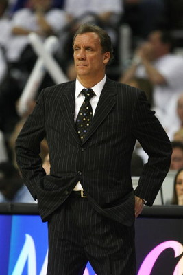 AUBURN HILLS, MI - MAY 24:  Head coach Flip Saunders of the Detroit Pistons watches the action against the Boston Celtics in Game Three of the Eastern Conference Finals during the 2008 NBA Playoffs on May 24, 2008 at the Palace at Auburn Hills in Auburn H