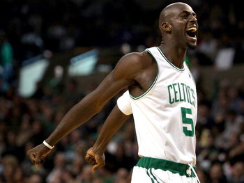 BOSTON - NOVEMBER 26: Kevin Garnett #5 of the Boston Celtics goes through his pregame ritual of screaming before the tipoff against the Golden State Warriors on November 26,2008 at TD Banknorth Garden in Boston, Massachusetts. NOTE TO USER: User expressly