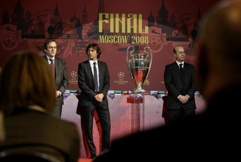 MOSCOW, RUSSIA - APRIL, 3: (L-R) French football legend and current UEFA president Michel Platini, Brazilian footballer Leonardo, Administrative Director of AC Milan Umberto Gandini attend the Chapions League trophy presentation on April 3, 2008 in Moscow