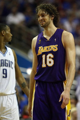 ORLANDO, FL - JUNE 11:  Pau Gasol #16 of the Los Angeles Lakers reacts in the fourth quarter against the Orlando Magic in Game Four of the 2009 NBA Finals on June 11, 2009 at Amway Arena in Orlando, Florida.  NOTE TO USER:  User expressly acknowledges and