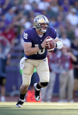 SEATTLE - SEPTEMBER 13:  Quarterback Jake Locker #10 of the Washington Huskies during the game against the Oklahoma Sooners on September 13, 2008 at Husky Stadium in Seattle, Washington. The Sooners defeated the Huskies 55-14.(Photo by Otto Greule Jr/Gett