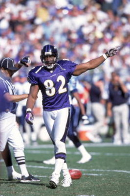 22 Oct 2000:  Shannon Sharpe #82 of the Baltimore Ravens walks on the field as he signals the direction of the ball during the game against the Tennessee Titans at the PSINET Stadium in Baltimore, Maryland. The Titans defeated the Ravens 14-6.Mandatory Cr