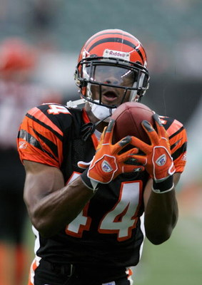 CINCINNATI - AUGUST 28: Herana-Daze Jones #44 of the Cincinnati Bengals makes a catch during the pre-season game with the Green Bay Packers at Paul Brown Stadium on August 28, 2006 in Cincinnati, Ohio. The Bengals won 48-17. (Photo by Andy Lyons/Getty Ima