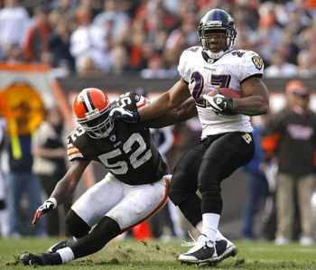 CLEVELAND - NOVEMBER 2:  Ray Rice #27 of the Baltimore Ravens runs the ball by D'Qwell Jackson #52 of the Cleveland Browns during the third quarter of their NFL game at Cleveland Browns Stadium November 2, 2008 in Cleveland, Ohio.  (Photo by Matt Sullivan