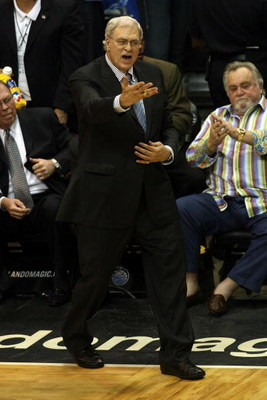ORLANDO, FL - JUNE 09:  Head coach Phil Jackson of the Los Angeles Lakers reacts from the court in the fourth quarter in Game Three of the 2009 NBA Finals against the Los Angeles Lakers on June 9, 2009 at Amway Arena in Orlando, Florida.  NOTE TO USER:  U