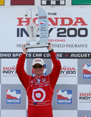 LEXINGTON, OH - AUGUST 09:  Scott Dixon driver of the #9 Target Chip Ganassi Racing Dallara Honda celebrates winning the IRL IndyCar Series The Honda Indy 200 on August 9, 2009 at the Mid-Ohio Sports Car Course in Lexington, Ohio.  (Photo by Darrell Ingha