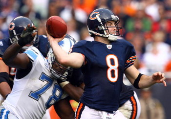 CHICAGO - NOVEMBER 02:  Quarterback Rex Grossman #8 of the Chicago Bears drops back to pass against the Detroit Lions during the fourth quarter at Soldier Field on November 2, 2008 in Chicago, Illinois. The Bears defeated the Lions 27-23.  (Photo by Jeff