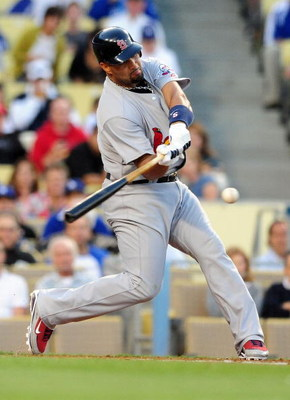 LOS ANGELES, CA - AUGUST 17: Albert Pujols #5 of the St. Louis Cardnials bats during the second inning against the Los Angeles Dodgers on August 17, 2009 in Los Angeles, California.  (Photo by Jacob de Golish/Getty Images)