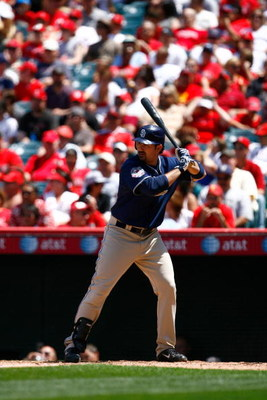 ANAHEIM, CA - JUNE 14:  Adrian Gonzalez #23 of the San Diego Padres bats against the Los Angeles Angels of Anaheim at Angel Stadium on June 14, 2009 in Anaheim, California. The Angels defeated the Padres 6-0.  (Photo by Jeff Gross/Getty Images)
