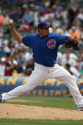 CHICAGO - JUNE 18:  Carlos Zambrano #38 of the Chicago Cubs pitches against the Chicago White Sox during the game on June 18, 2009 at Wrigley Field in Chicago, Illinois. (Photo by Jonathan Daniel/Getty Images)
